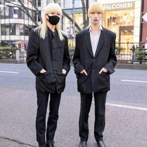 Japanese Male Models With Blonde Hair in Harajuku Wearing Comme Des Garcons, Diet Butcher Slim Skin & Issey Miyake Men