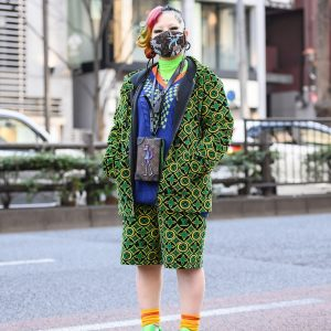 Louis Vuitton Street Style in Tokyo w/ LV Monogram Buzz Cut, Monogram Zip Hoodie Set, Damier Jacquard V-Neck Sweater, LV Zoom with Friends Monogram Neck Bag & Louis Vuitton Neon Sneakers