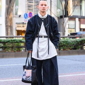 Not Conventional Harajuku Streetwear w/ Bucket Hat, Vintage Wide Leg Pants, The Great Wave Tote Bag, & Japanese Geta Sandals