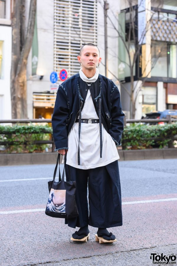Not Conventional Harajuku Streetwear w/ Bucket Hat, Vintage Wide Leg Pants, The Great Wave Tote Bag, & Japanese Geta Sandals