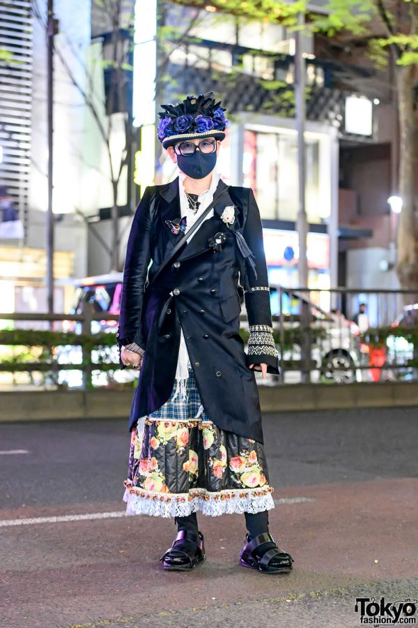 Japanese Gothic Street Style w/ Floral Hat, If Six Was Nine, Tata Christiane, Balmain & Book Bag