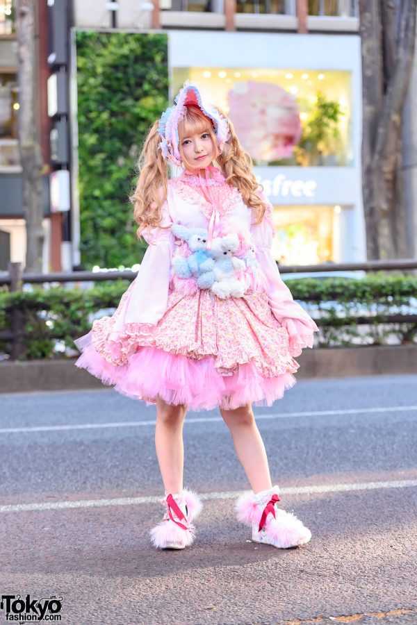 Japanese Cosplayer in Lolita Style w/ Teddy Bears Corset, Pink Tulle Dress & Furry Platform Shoes