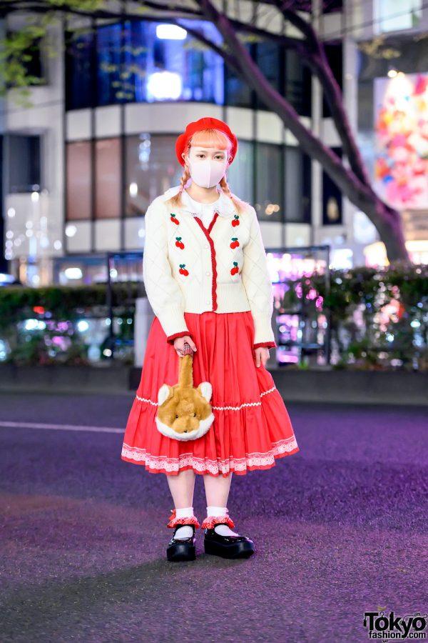 Kawaii Retro Harajuku Street Style w/ Pink Hair, Cherry Cardigan, Fox Bag, Kiki2 Midi Skirt & Tokyo Bopper