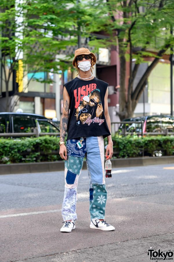 Harajuku Guy in Usher T-Shirt, Michael Jackson Tattoo, Jaded London Patchwork Pants & ReadyMade x Nike
