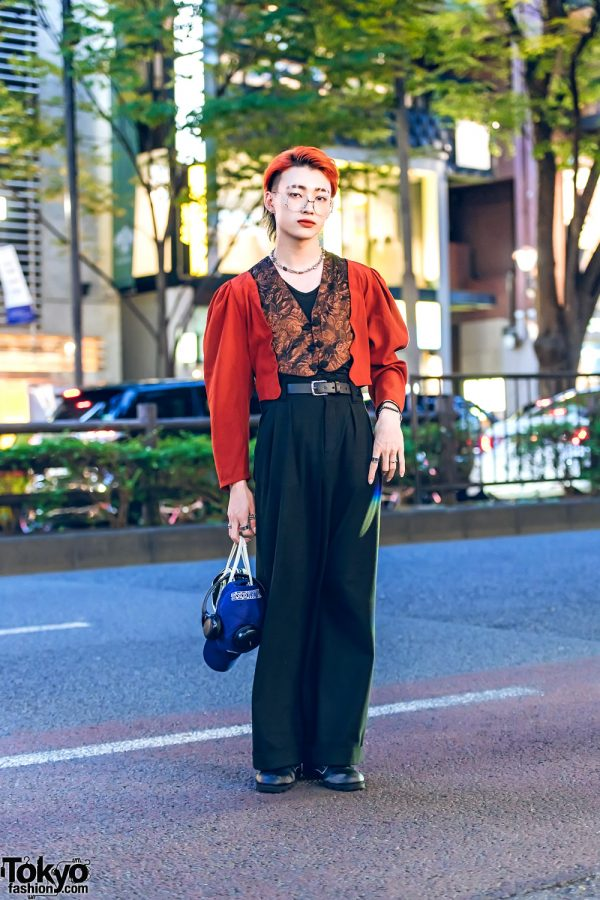 Rust Orange and Black Japanese Street Fashion w/ Vintage Cropped Blazer, Vintage Wide Leg Pants, Adidas Patent Bag & Rothco Leather Boots