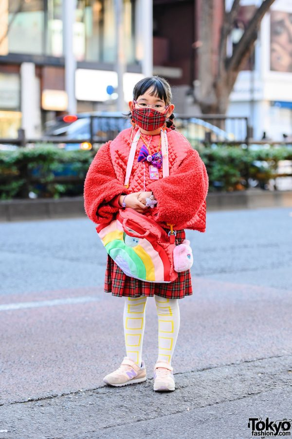 Handmade Harajuku Kids Fashion w/ Plaid Mask, Gameboy Pixel Bead Necklace, Quilted Sweater, Plaid Skirt, Franky Grow Sweatshirt, Rainbow Bag & New Balance Sneakers