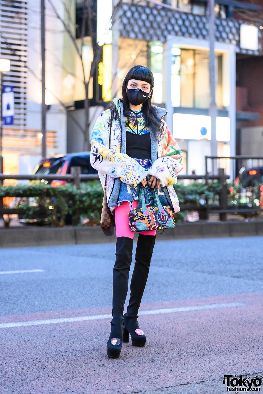 Japanese Student's Street Style w/ Puma Face Mask, Clock Rings, Fleece Jacket, Denim Skort, Louis Vuitton, Twin Bee Patchwork Bag & Spiral Girl Thigh Boots