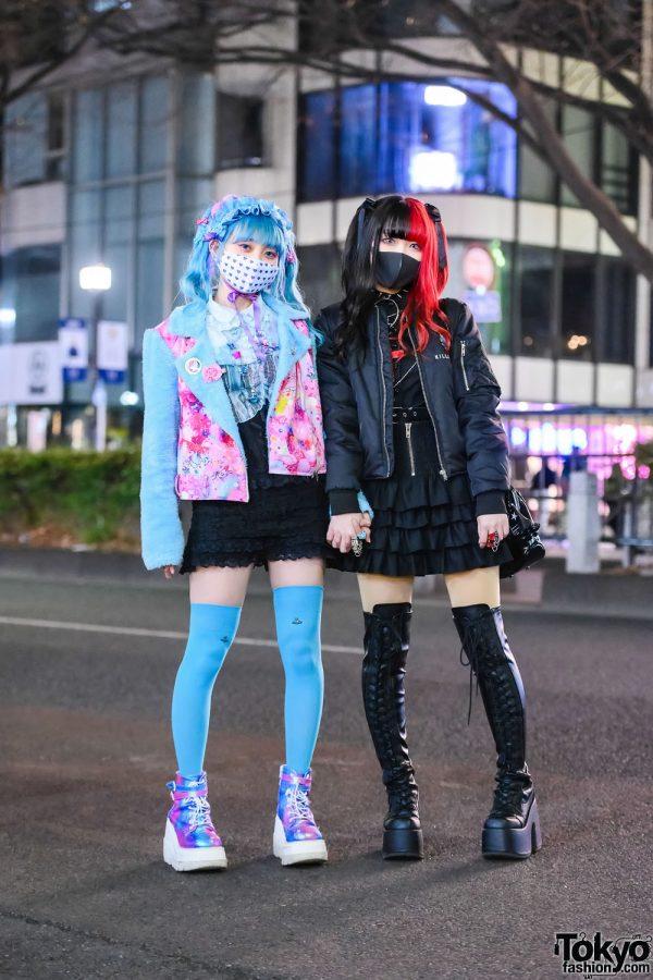 Tokyo Girls Street Styles w/ Blue Twin Tails, Two-Tone Hair, 6%DOKIDOKI Kawaii Furry Jacket, Killstar Spooky Tunes Bomber Jacket, Algonquins, Vivienne Westwood, Meimmeim, Katie, Brindle, Glavil, Morph8ne & Demonia Boots