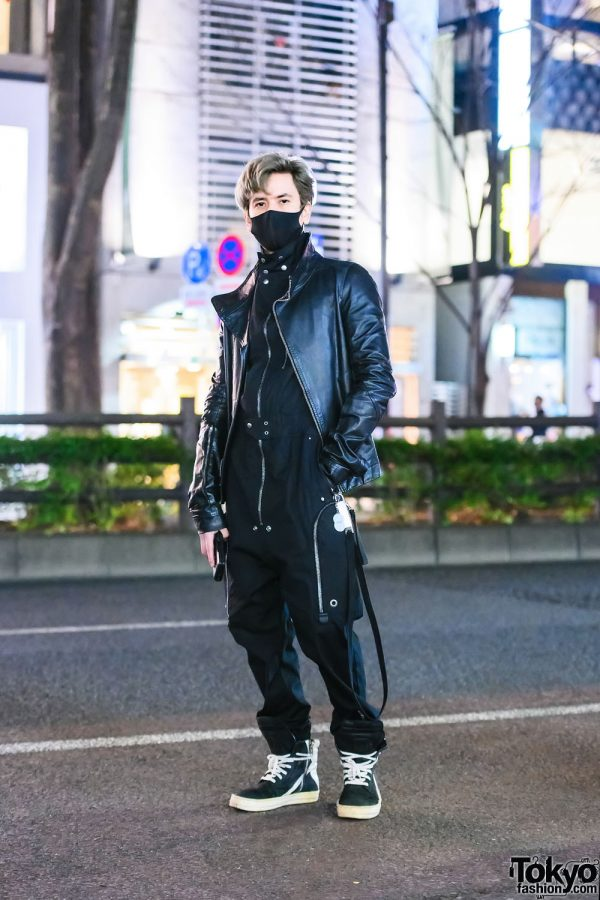 All Black Rick Owens Harajuku Street Style w/ Black Jumpsuit, Zippered Leather Jacket, Keychain Wallet & High-Top Sneakers