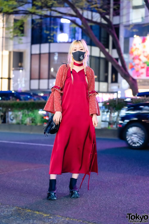 Japanese Fashion Designer in aNANA Tih Sayim Flare Sleeve Dress & Vintage Bag in Harajuku