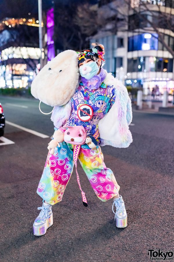 ACDC Rag Furry Pastel Jacket in Harajuku w/ Twin Buns, Rabbit Mask, Plushies, No Camera Perler Bead Necklace, Kawaii Print T-Shirt, EL Rodeo Smiley Pants, Daiso & Metallic Platform Sneakers