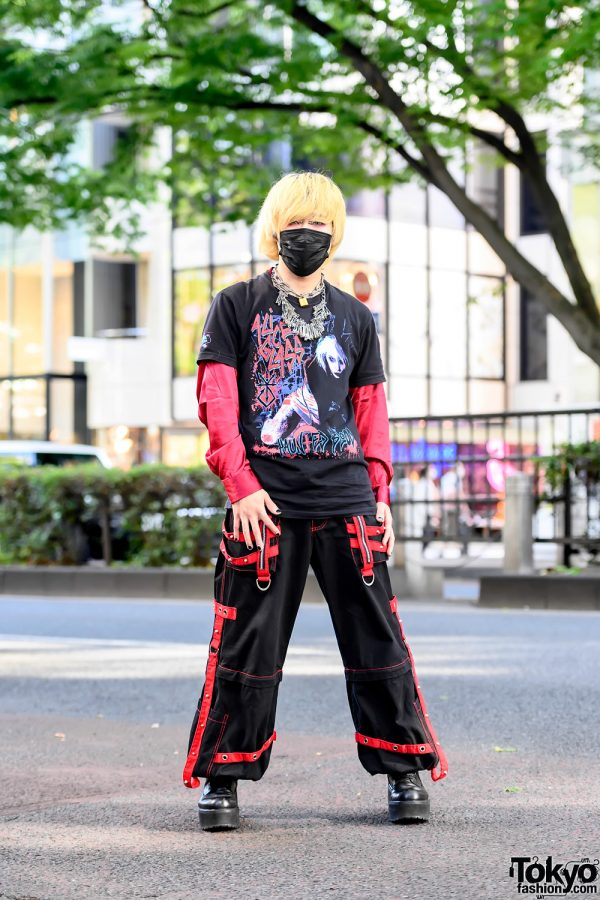 Alice Glass T-Shirt Street Style in Harajuku w/ Tripp NYC Strap Pants, Handmade Safety Pins Necklace, and Civarize Boots