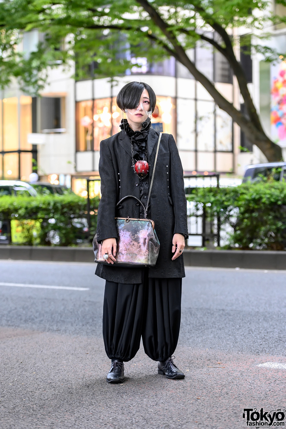 Dark Japanese Street Style w/ Clear Face Mask, Moi meme Moitie, Jean Paul Gaultier, CGD, Yohji Yamamoto & Suppurate System Nail Apple