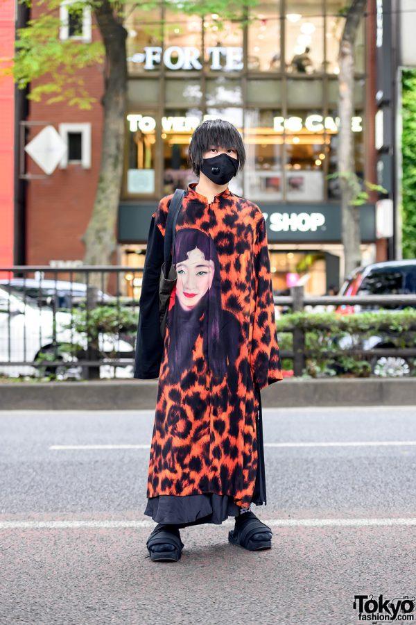 Yohji Yamamoto Japanese Street Style in Harajuku w/ Long Shirt, HA/ZA/MA Pants, S'yte Face Mask, Comme Des Garcons & Y3 Platform Sandals