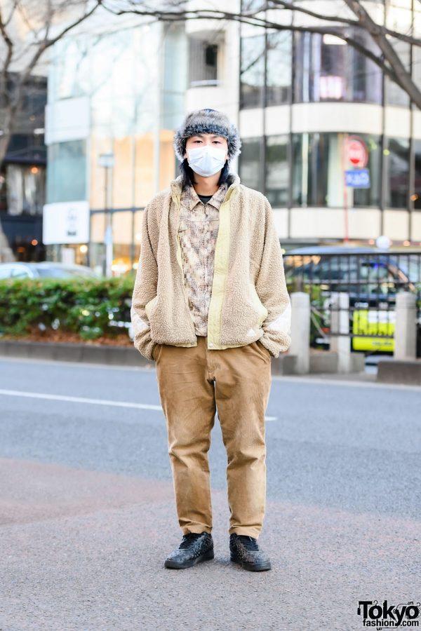 Japanese Artist Street Style w/ Furry Hat, Adidas Shearling Jacket, Resale Snakeskin Print Shirt, Corduroy Pants & Nike Air Force 1 Independence Day Embossed Sneakers