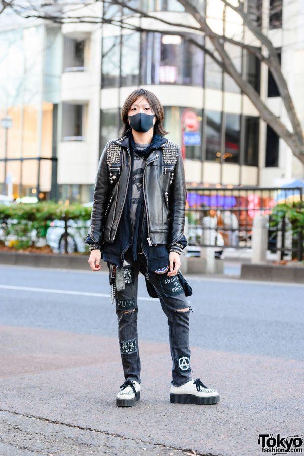 Tokyo Punk Streetwear Style w/ Chaos Spiked Bracelets, Tokyo Human Experiments, Cyberdyne Biker Jacket, Undercover, Remake Patch Jeans & Demonia Creepers