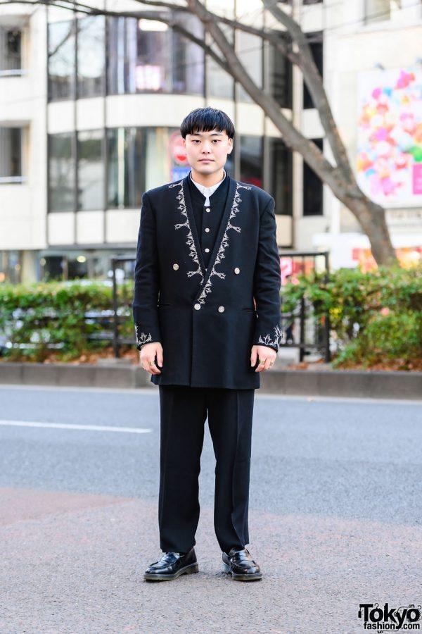 Tokyo Vintage Menswear Street Style w/ Collarless Double-Breasted Blazer, Mandarin Collar Vest, Dress Pants, Maison Margiela Rings & Penny Loafers