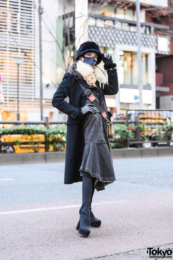 Harajuku Girl w/ Nice Claup Bucket Hat, Sportmax Coat, Zara Biker Jacket, Snidel Denim Dress, Vivienne Westwood Crossbody Bag & Spiral Girl Thigh-High Boots