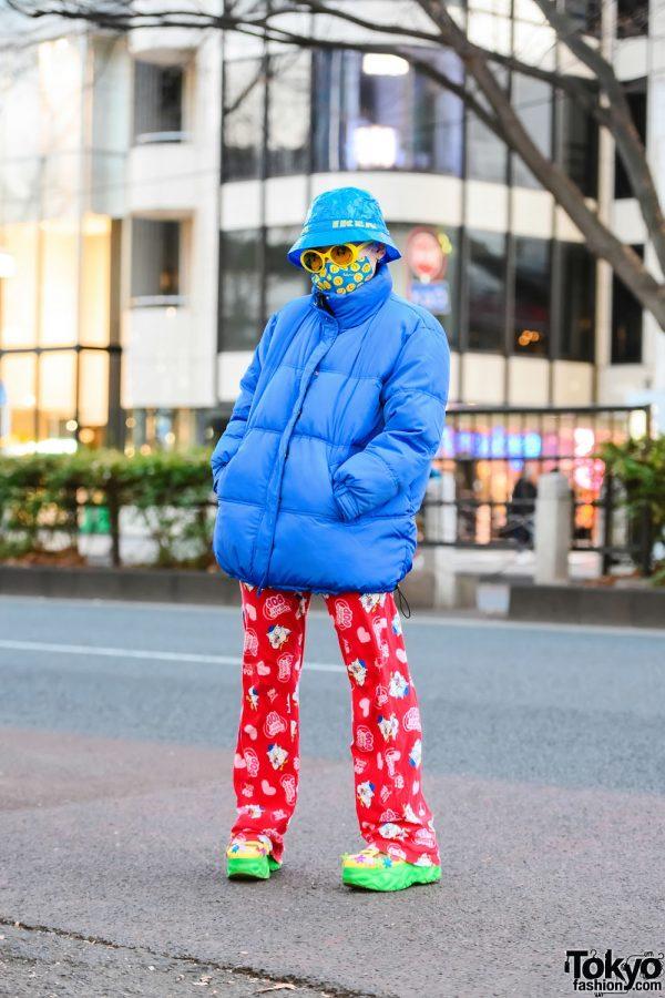 Tootsie Roll Pop Pants in Harajuku w/ IKEA Bucket Hat, Smiley Face Sunglasses, H&M Puffer Jacket, UNIQLO & Yosuke USA Cutout Shoes
