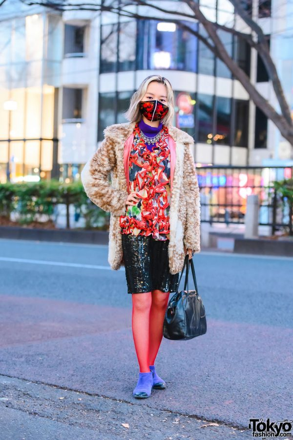 Fawn Faux Fur Jacket w/ Resale Mouse Ruffle Blouse, Sequin Skirt, Vivienne Westwood Bag, Statement Accessories, Red Fishnet Stockings & Diana Cap Toe Ankle Boots