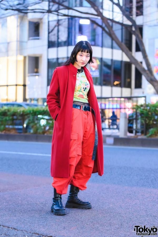 Japanese Model In All-Red Harajuku Street Style w/ END. Long Coat, Otoe Printed Shirt, Mesh Undershirt, Baggy Cargo Pants, Vintage Pendant Necklace & ASOS Zippered Leather Boots