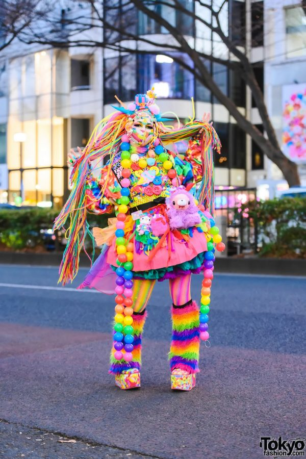 Tokyo Rainbow Streetwear Style w/ Multicolored Hair Falls, Colorful Balls, ACDC Rag, That Rainbow Chick Horns, Aika Electronics, 6%DokiDoki, Claire's Tulle Skirt, Spencer's Gifts, WEGO, Daiso, Kawaii Monster Cafe, Gloomy Monster, Kol Me Baby & Platforms