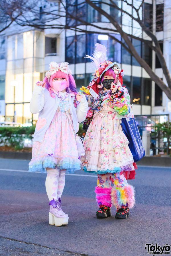 Pastel x Colorful Harajuku Street Styles in Harajuku w/ Twin Tails, Fuzzy Face Mask, Embellished Hat, Listen Flavor, Unicorn Print Corset Dress, Metamorphose Floral Print Dress, Dangerous Nude & Yosuke Platforms
