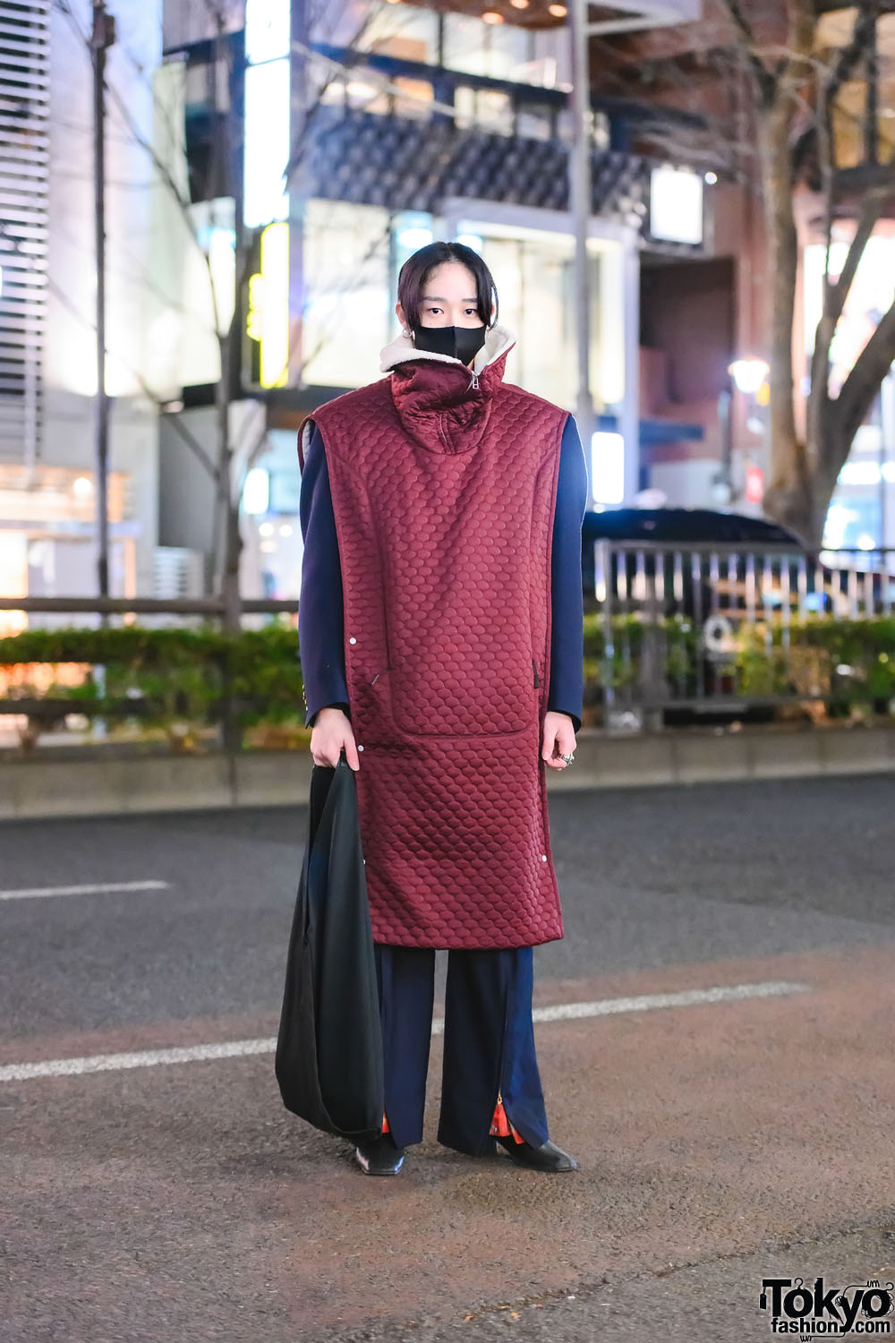 Quilted Overcoat Tokyo Fashion w/ Hatra Long Coat, Dior Blazer, Toga Flare Pants, Lilac Ruffle Tote, Gucci Statement Rings & Square Toe Boots