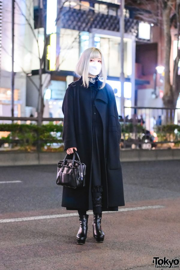 Tokyo Fashion College Student w/ Silver Hair In All Black Comme Des Garcons & Merry Jenny Ankle Boots