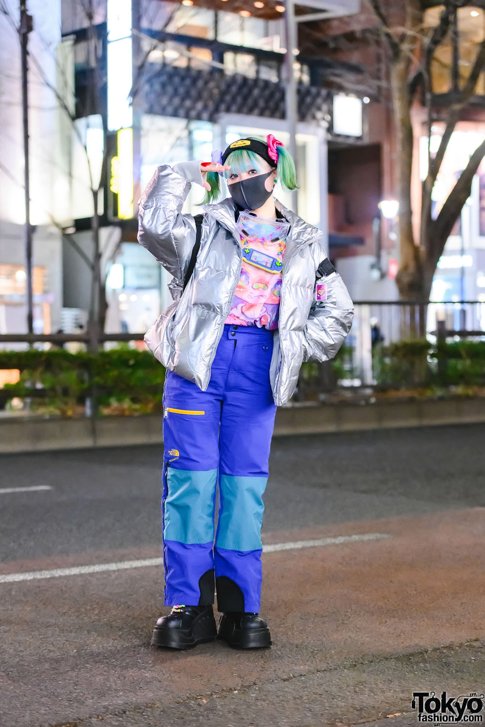 Japanese Illustrator w/ Pastel Twin Tails In Silver Puffer Jacket, Printed Art Shirt, The North Face Extreme Fleece Pants, Candy Stripper Backpack, Claire's Accessories & Demonia Platform Shoes
