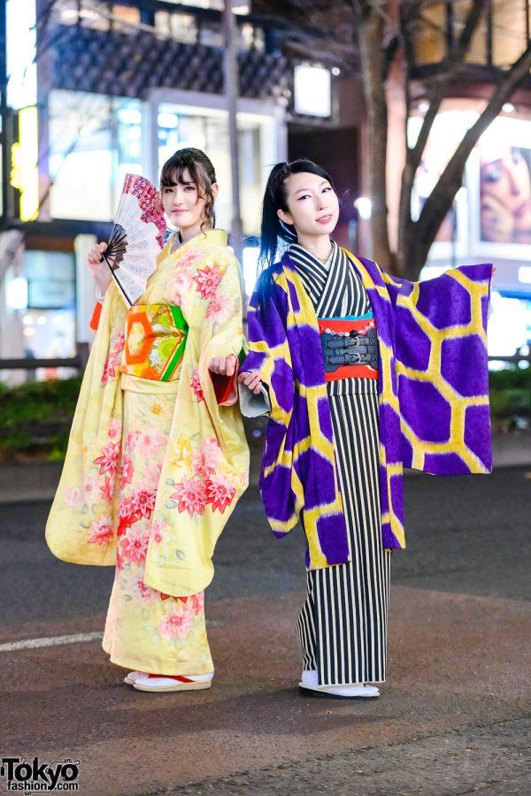 Japanese Kimono Street Styles w/ Fan, Floral Kimono, Belted Leather Corset, Striped Kimono, Geometric Kimono Jacket, Tabi Socks & Geta Sandals