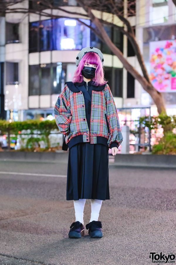 HEIHEI Street Style in Tokyo w/ Pink Hair, Plaid Jacket, Pleated Maxi Dress & Tokyo Bopper Bow Shoes