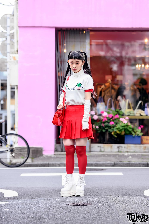 Harajuku Girl w/ Facial Piercings & Twintails in Jouetie Top, Pleated Skirt, Knee Socks & Platform Boots