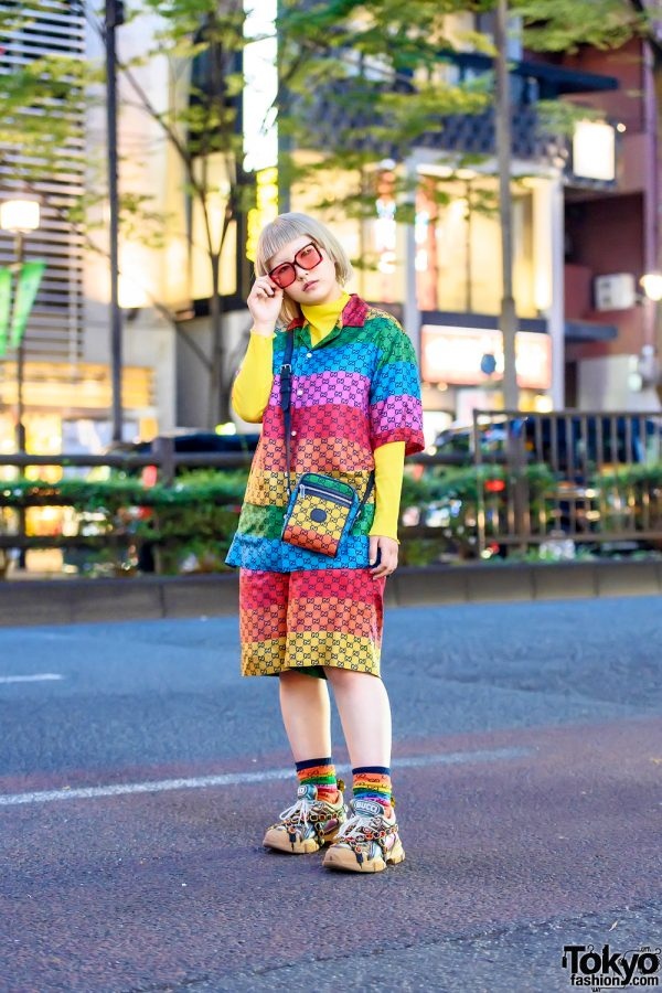 Gucci All Over Monogram Print Rainbow Street Style in Harajuku w/ Gucci Jeweled Sneakers
