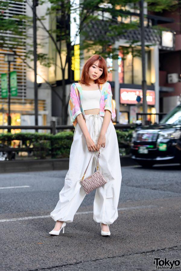 Japanese Model in Harajuku w/ Orange Hair, Vintage High Waist Pants, Crop Top & MiuMiu Bag