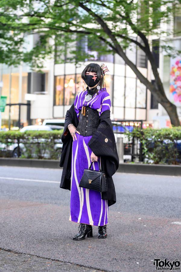 Vintage Kimono, Torii Gate Headpiece & Lace Corset Japanese Street Style in Harajuku