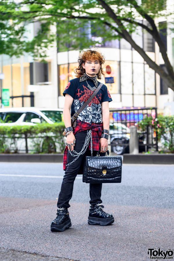 Harajuku Guy in Dark Funeral T-Shirt, Spikes, Studs, Briefcase & Demonia Platforms