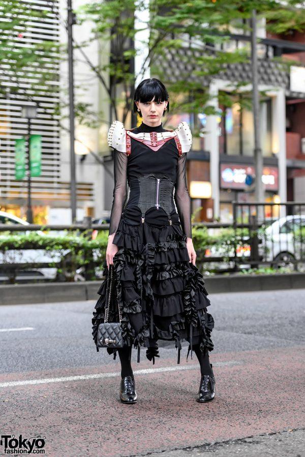 Harajuku Street Style w/ Una Burke Leather Armour, UN3D Top, Corset, Alexander McQueen, LIMI Feu & United Nude