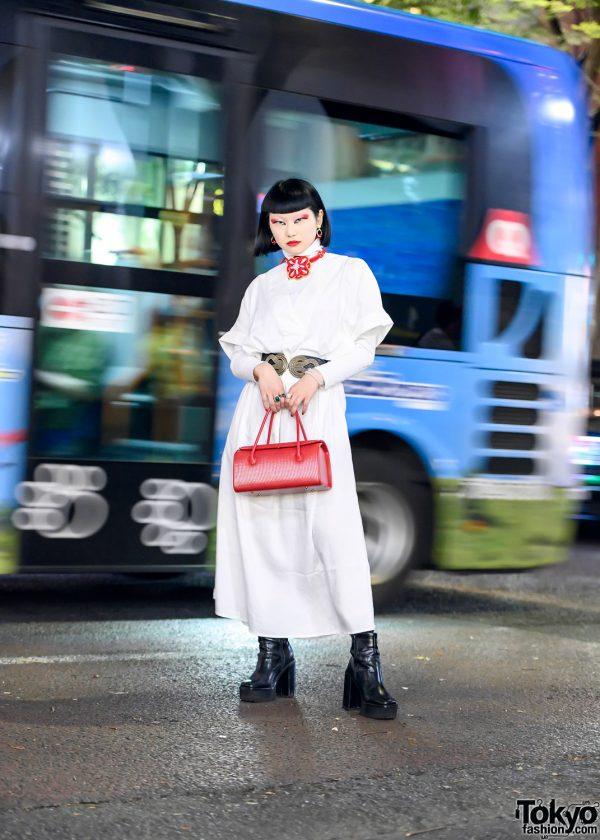 Japanese Fashion & Beauty YouTuber w/ Bob Hairstyle, Red Eye Makeup, Kimono Necklace, White Dress & Platform Boots