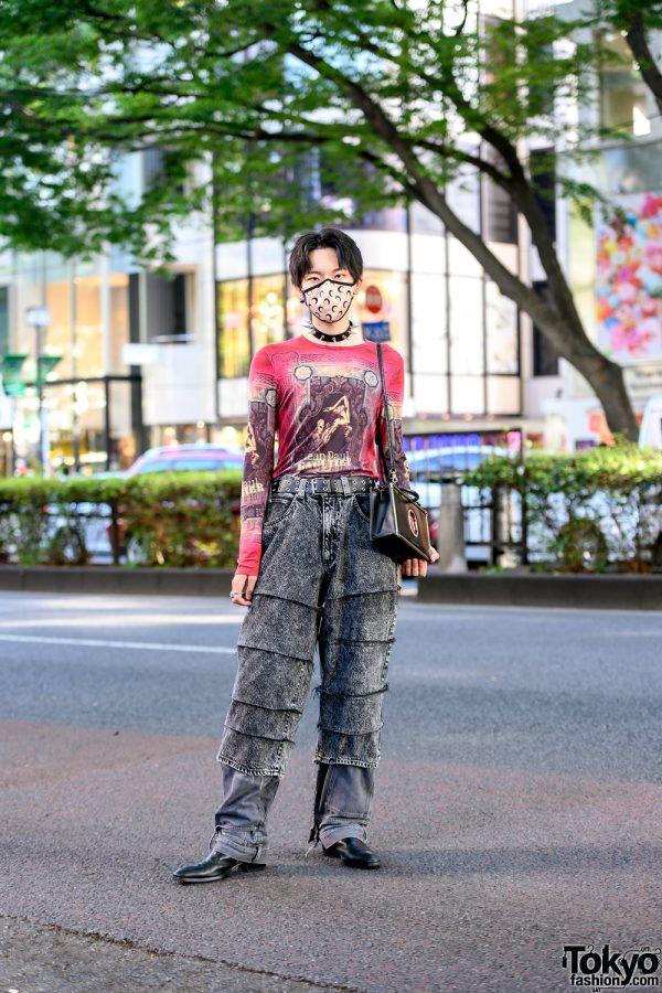 Jean Paul Gaultier Vintage 1990s Top, Barashi Remake Jeans, YSL & JPG Bag in Harajuku