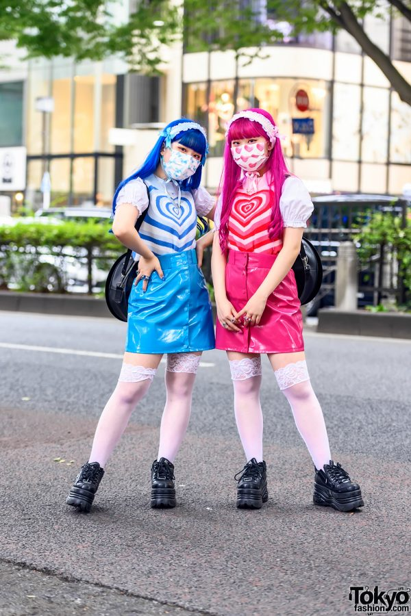 Kawaii & Colorful Japanese Twin Sisters in Harajuku w/ Peco Club, 6%DOKIDOKI, G2? Record Bags & Yosuke Platforms