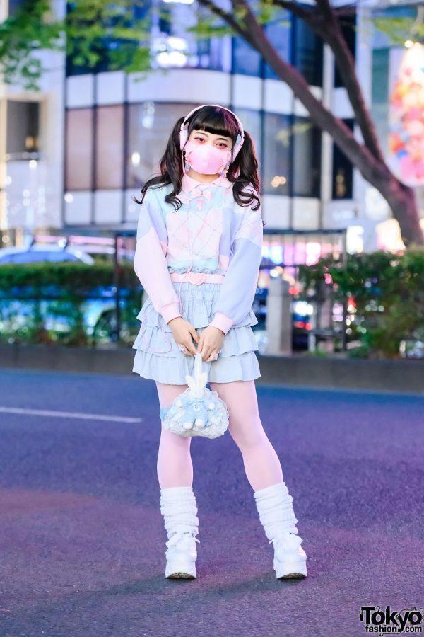 Pastel Harajuku Fairy Kei Street Style w/ Twin Tails, Spinns Sweater, Tiered Skirt, Uramo Bunny Bag, Nile Perch & Yosuke Platforms