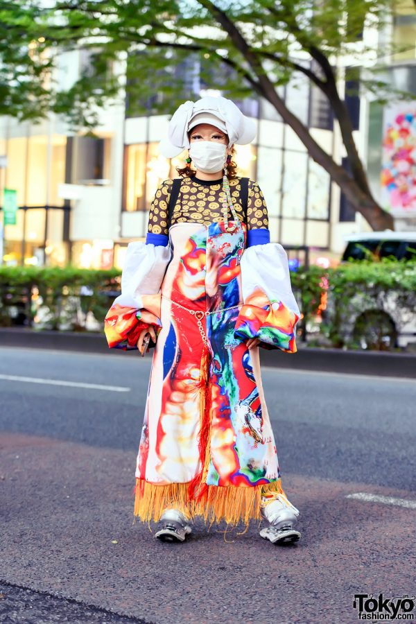 Japanese Fashion Designer in Colorful Avantgarde Handmade Street Style & ESQAPE Sping Shoes in Harajuku