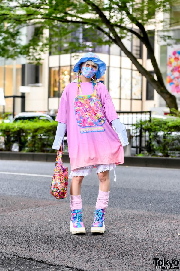 6%DOKIDOKI Kawaii Harajuku Street Style w/ LilLilly Sailor Top, Bucket Hat, Loose Socks & Rainbow Demonia Platform Boots