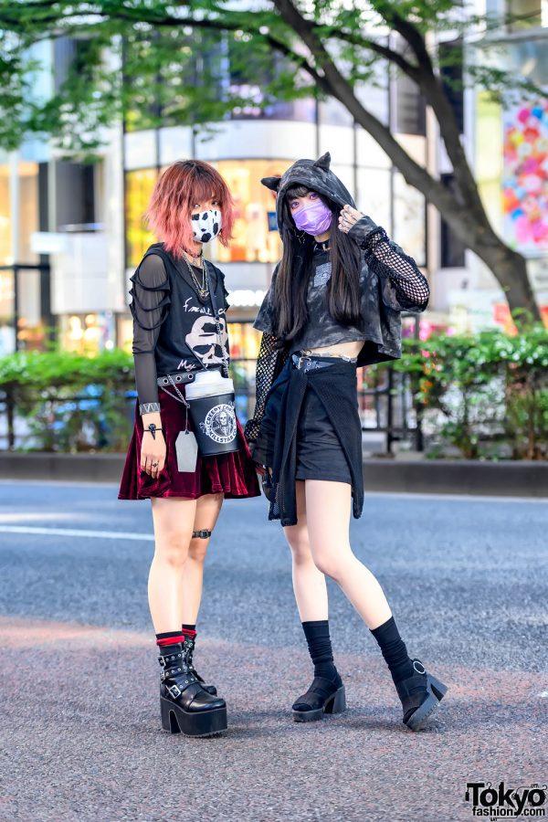 Harajuku Girls in KRY Clothing Ears Cropped Hoodie, Killstar, Funky Fruits, Garters, Qooza & Jamie Ank