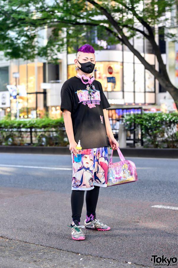 Japanese Anime, Akihabara & Otaku Fashion in Harajuku w/ Las42018 Tee, Handmade Anime Pants & Anime Figure Accessories