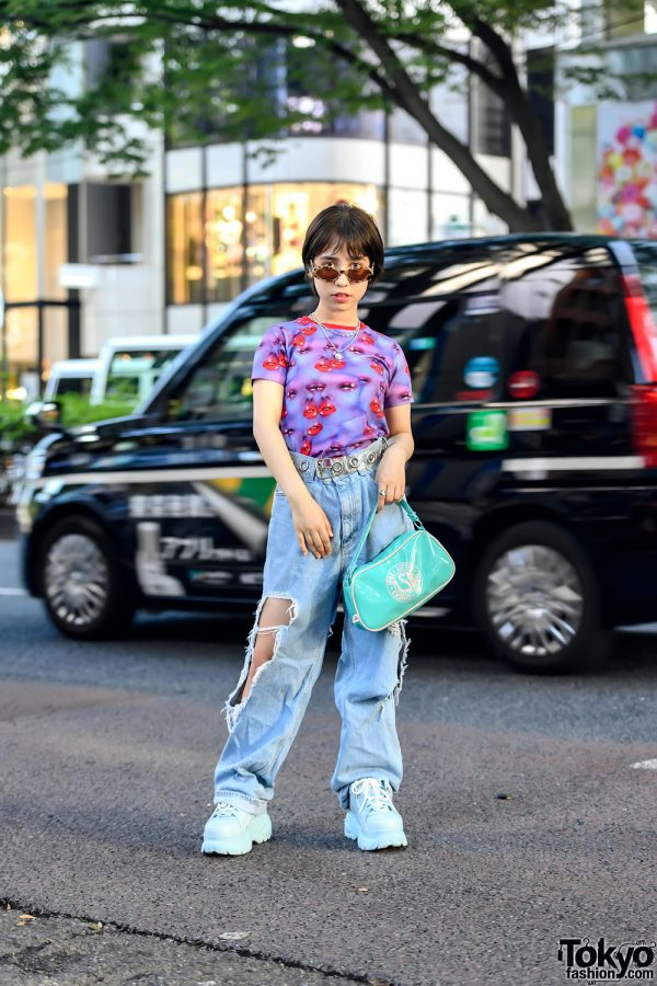 Harajuku Girl in Heaven by Marc Jacobs Top, Little Sunny Bite Ripped Jeans & Buffalo Platform Shoes