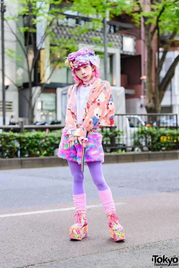 Japanese Idol's Kawaii Street Style w/ Decora Accessories, Troll Earrings, Handmade Jacket, 6%DOKIDOKI, Yoshida Chanel, ACDC Rag Fuzzy Shorts & Candy Platforms