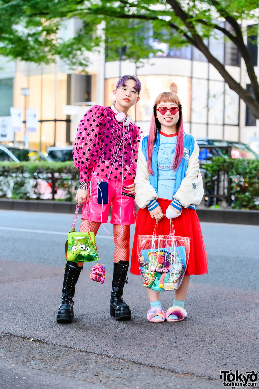 Harajuku Teen Sisters in Colorful Street Styles w/ San To Nibun No Ichi, Comme des Garcons Skirt, Sukajan, Kinji, Jouetie, Fruit of the Loom Tote & Yosuke Boots