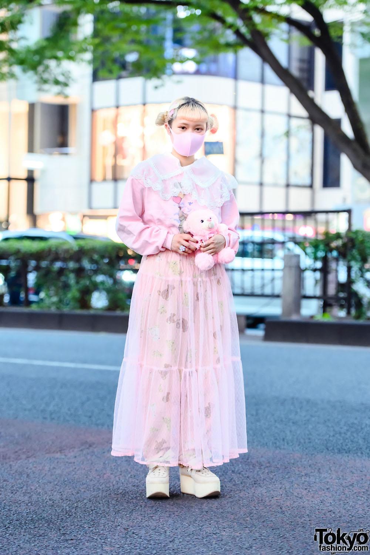 Teddy Bear & Vintage Pink Harajuku Street Style w/ Twin Buns, Teddy Bear, Sweatshirt, Teddy Print Tulle Skirt, Polka Dot Belt, Pastel Flower Ring & Tokyo Bopper Bow Platforms